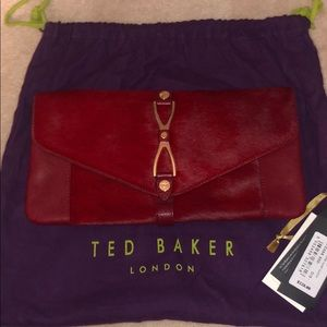 Ted Baker Red Leather clutch with gold accents